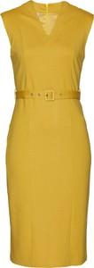 Żółta sukienka bonprix bez rękawów z dżerseju