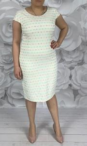 Sukienka Dorota z okrągłym dekoltem z żakardu midi