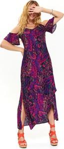 Sukienka Top Secret z krótkim rękawem maxi z tkaniny
