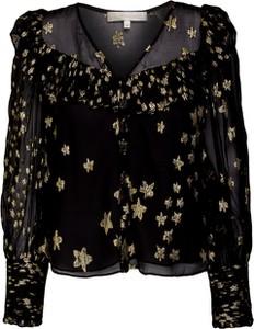 Czarna koszula LoveShackFancy z jedwabiu z długim rękawem