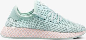 Miętowe buty sportowe Adidas z płaską podeszwą