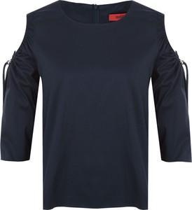 Niebieska bluzka Hugo Boss z długim rękawem z okrągłym dekoltem w stylu casual