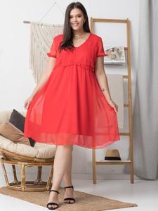 Sukienka KARKO z tkaniny z dekoltem w kształcie litery v z krótkim rękawem