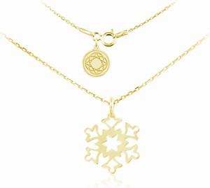 Lian Art Srebrny naszyjnik - Śnieżynka - 24k złocenie - FD30