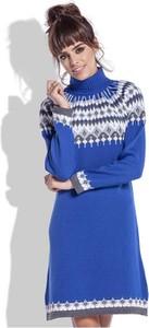 Niebieska sukienka Coco Style midi z golfem z długim rękawem