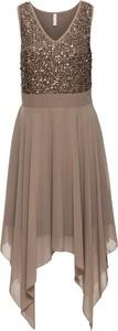 Brązowa sukienka bonprix bodyflirt boutique rozkloszowana bez rękawów midi