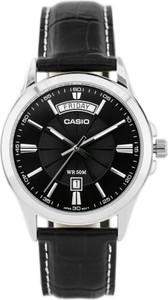 ZEGAREK MĘSKI CASIO MTP-1381L-1AVDF (zd076c) - Czarny || Srebrny