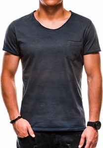 Granatowy t-shirt Ombre z krótkim rękawem