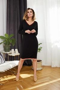 Czarna sukienka La'Aurora mini z długim rękawem
