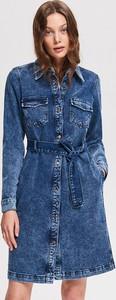 Niebieska sukienka Reserved z długim rękawem z jeansu