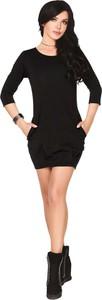 Czarna sukienka MERRIBEL mini z długim rękawem z okrągłym dekoltem