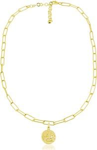Lian Art Łańcuszek Margot Antique z monetą - duże oczka - 24k złocenie