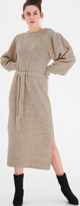Sukienka Ichi z okrągłym dekoltem z moheru w stylu casual
