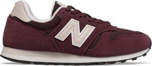 Czerwone buty sportowe New Balance z zamszu z płaską podeszwą