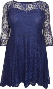 Niebieska sukienka So Fabulous w stylu casual z okrągłym dekoltem mini