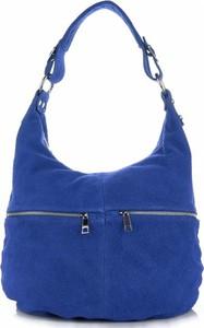 Niebieska torebka GENUINE LEATHER duża
