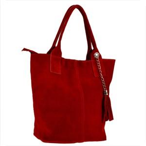 Czerwona torebka Borse in Pelle w stylu glamour duża z zamszu