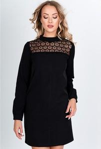 Czarna sukienka Royalfashion.pl mini z okrągłym dekoltem