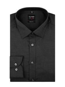 Czarna koszula Olymp Level Five z bawełny z klasycznym kołnierzykiem z długim rękawem