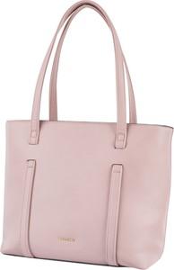 Różowa torebka PUCCINI duża na ramię ze skóry ekologicznej