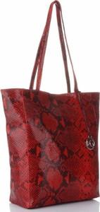 Czerwona torebka VITTORIA GOTTI w młodzieżowym stylu ze skóry na ramię