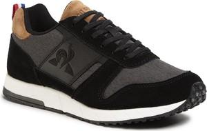 Czarne buty sportowe Le Coq Sportif ze skóry ekologicznej sznurowane