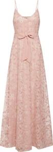 Różowa sukienka Vila z bawełny z dekoltem w kształcie litery v maxi