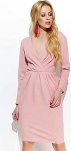 Różowa sukienka Makadamia bombka w stylu casual