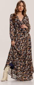 Granatowa sukienka Renee z długim rękawem z dekoltem w kształcie litery v w stylu boho