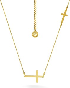 GIORRE SREBRNY NASZYJNIK Z DWOMA KRZYŻYKAMI GRAWER 925 : Kolor pokrycia srebra - Pokrycie Żółtym 24K Złotem