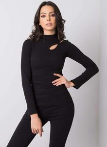 Czarna bluzka Sheandher.pl w stylu casual z długim rękawem