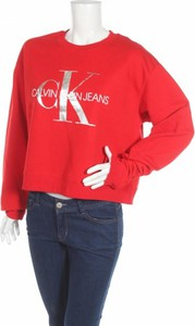 Czerwona bluzka Calvin Klein z długim rękawem w stylu casual z okrągłym dekoltem
