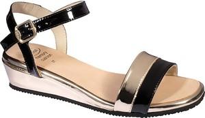 Czarne sandały Scholl w stylu casual na koturnie ze skóry