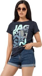 Niebieski t-shirt Autoryzowany Sklep Jack Wolfskin z krótkim rękawem z okrągłym dekoltem