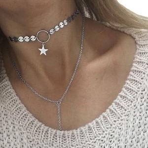 Fashion Jewellery Choker z naszyjnikiem SREBRNY GWIAZDKA N538S