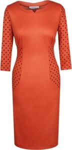 Czerwona sukienka Fokus z dzianiny z długim rękawem w stylu glamour