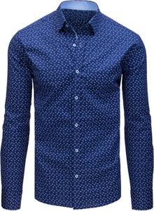 Granatowa koszula Dstreet z długim rękawem z kołnierzykiem button down w stylu casual