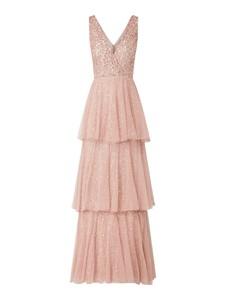 Różowa sukienka Lace & Beads maxi z dekoltem w kształcie litery v bez rękawów