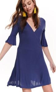 Niebieska sukienka Troll z dzianiny z długim rękawem mini