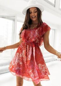 Sukienka Latika z dekoltem w kształcie litery v mini z krótkim rękawem