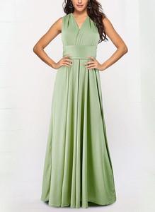 Zielona sukienka Sandbella z dekoltem w kształcie litery v bez rękawów maxi