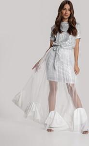 Srebrna sukienka Renee z okrągłym dekoltem z krótkim rękawem