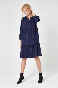Niebieska sukienka Scui Studios z długim rękawem z dekoltem w kształcie litery v