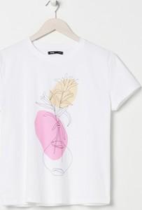T-shirt Sinsay z nadrukiem z bawełny