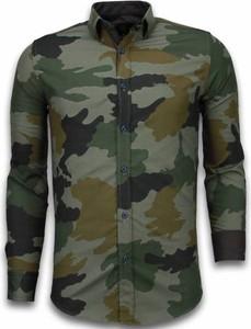Zielona koszula TONY BACKER w militarnym stylu z długim rękawem
