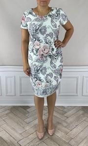 Sukienka Dorota dla puszystych z tkaniny z krótkim rękawem