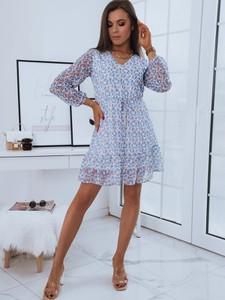 Sukienka Dstreet mini z dekoltem w kształcie litery v z długim rękawem