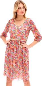 Sukienka L'AF z tkaniny z dekoltem w kształcie litery v z długim rękawem