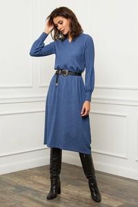 Niebieska sukienka Joséfine w stylu casual z długim rękawem z dekoltem w kształcie litery v