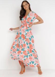 Pomarańczowa sukienka born2be maxi z krótkim rękawem